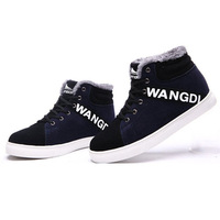 New 2014 winter men sneakers fashion casual contrast color shoelace men shoes winter warm ankle boots skateboarding shoes men