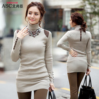 2014 Christmas Long Sleeve Turtleneck Plus Size Ladies Knit Sweaters Women Sweaters and Pullovers Casual Sweaters