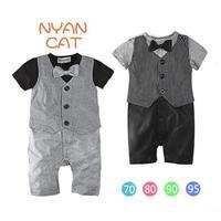 2014 New Summer Waistcoat Bow Tie Baby Rompers Gentlemen Baby Boy Romper Suit Jumpsuit Overalls 4 pieces / lot 1222