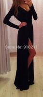 Brilliant A-Line V Neck Floor Length Chiffon Long Sleeves  Black Long Slit Cheap Prom Dresses