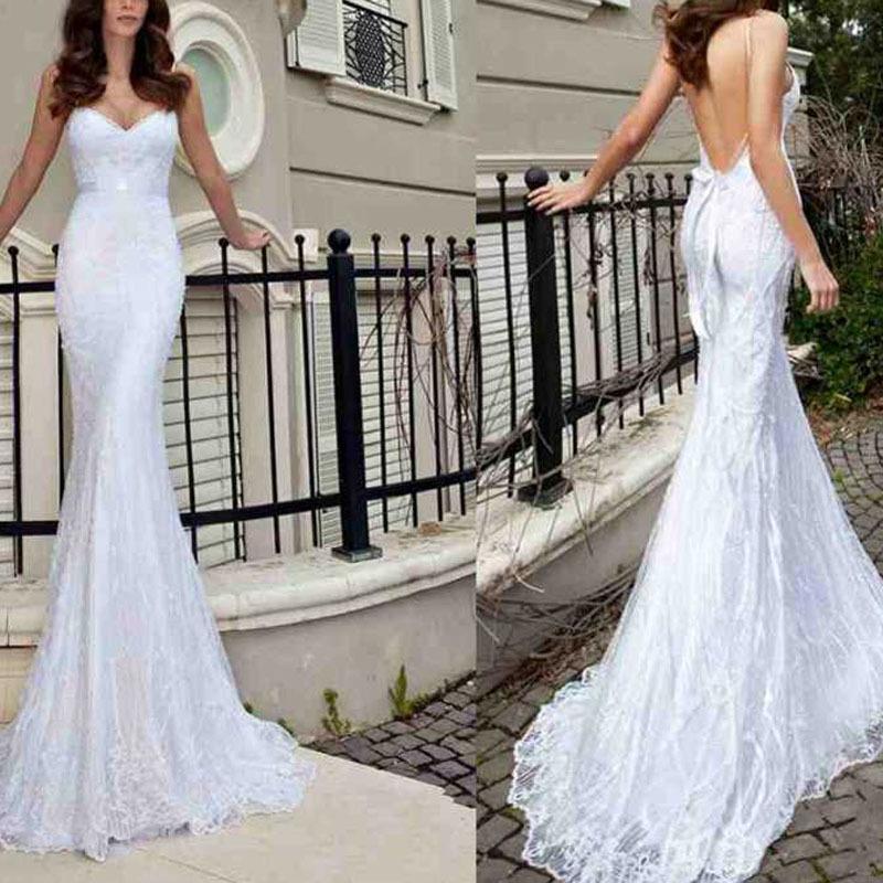 New 2014 V-Neck Sash Sexy Appliques Backless Lace Mermaid Wedding Dresses Bridal Gowns Bead Spaghetti Strap Wedding Dresses 2014(China (Mainland))