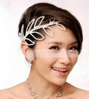 New 2014 Brand New Leaf Design Bridal Bridesmaid Wedding Rhinestone Crown Headband Jewelry Tiara Hair Accessories Free Shipping