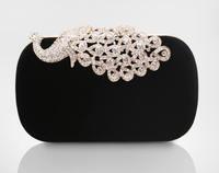 New 2014 Womens Clutch Evening Bag Upscale Rhinestone Velvet Hard Case Colorful Peacock diamond Chain Bolsas Femininas