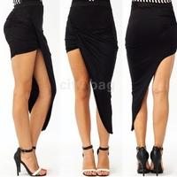 New Irregular Plissada Saias Femininas Women Fashion High Waist skirt Draped Cut Out Asymmetrical Low Maxi Skirt Hot