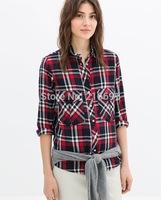 2014 new fashion women vintage classics positioning red Plaid cotton blouse Lady casual brand design base shirt #J405