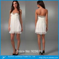 Hot selling fashion sweetheart sleeveless backless with beaded  short white chiffon prom dress