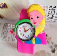 Wholesale 10pcs/lot! 2014 New Arrival Frozen Princess Snap Watch Cartoon Slap Watch Rubber Jelly Watch  Free Shipping
