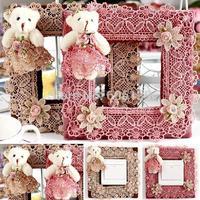 Elegant european-style cute little bear Fabric art Single switch sticker Home Decor 3pcs/lot free shipping