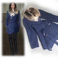 Winter  2014 Women Detachable Mink Fur Collar Wool Warm Coat no Buttons  0930P1471