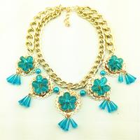 Hot Sale 2014 Fashion Elegant Big Gem Flower Choker Tassels Necklace Acrylic Collar for Women Necklaces & Pendants Brand Jewelry