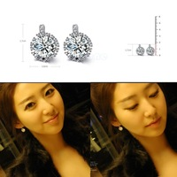 1 Pair Women 18k white Gold Gp clear crystal jewelry stud earrings zircon brass Material Hot High Quality WF32