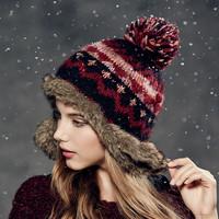Kenmont Winter Women Lady Girl Warm Outdoor Ski Hat Acrylic Earflap Faux Fur Beanie Cap 1624