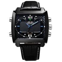 WEIDE WH2308B Men Military Watches Tungsten steel Luxury Brand Leather Strap 30 Meters Waterproof quartz Men's Sport Watch
