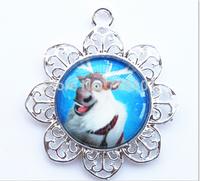 cheap price charm kids Frozen flower pendants!glass fashion character children necklace pendants!!