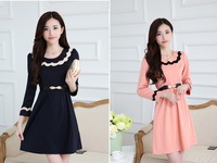 2014 New  Winter Dress  O-neck  Pink and Dark Blue Color 4 size Women Dress  with belt Free Shipping