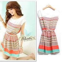 Hot Sale 2014 Fashion Colorful Sleeveless Sexy Korea Women Stripes Casual Chiffon Small Party Dress YXJ021