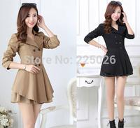 2014 New Spring Plus Size Slim Cardigan Windbreaker Women Design Coat For Lady Women's Trench Coats Overcoat Hem Skirt Cotton
