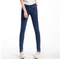 2014 Autumn Elastic Slim Denim Pencil Long Design Women Brand Jeans 6 Sizes Mid Waist Pencil Pants Trousers Skinny Jeans Women