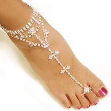 Wedding Bridal Sexy Rhinestone Barefoot Sandals, Foot Bracelet,Beach Foot Jewelry, Cross Beads Anklets for Women