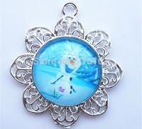 New Arrival 10pcs/lot charm cartoon character Olaf pendants hot frozen movies pendant child girl jewelry pendants!