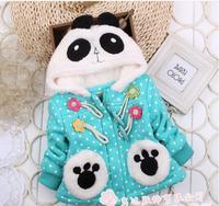 Hot autumn winter baby girl coat blue cotton long sleeve hooded panda dot thick coat kids girls jacket children coats 4pcs/lot