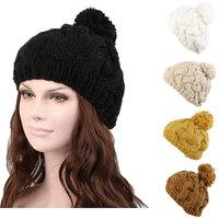 Fashion Winter Autumn Women Fur Cap Casual Knit Cap Button Twisted Beanies With Flower Warm Hat Black White Beige Yellow