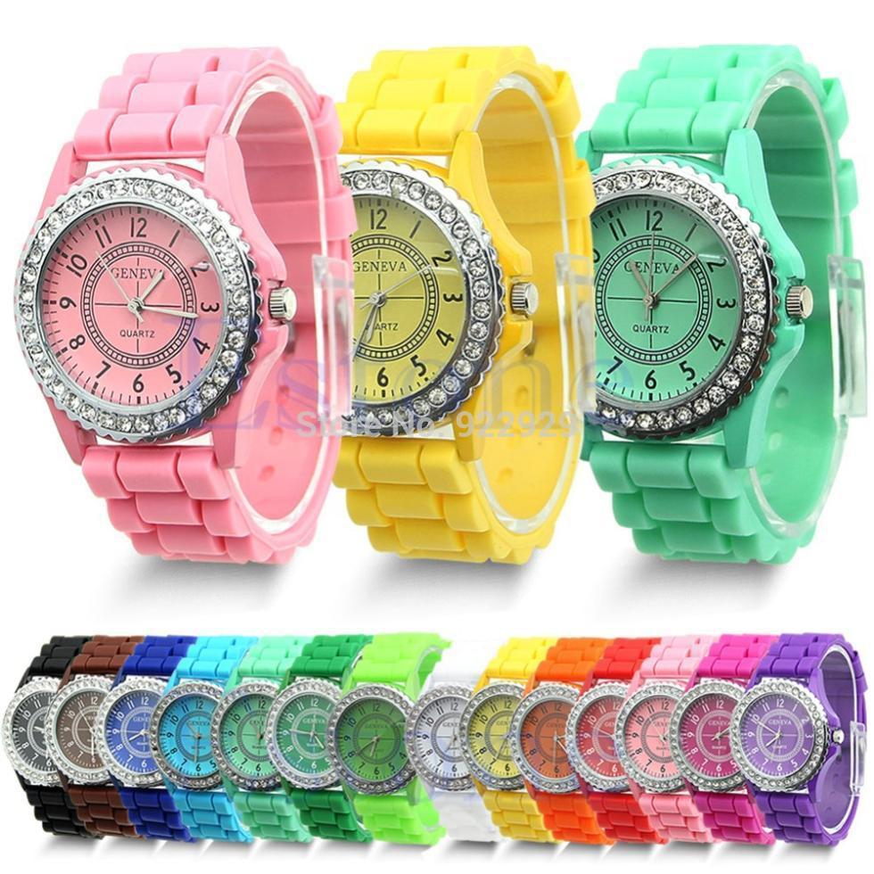 Girl-Jewelry 2014 hot sale Elegant Graceful Fashion Stylish Diamante Silicone Band colorful women Watch wholesale(China (Mainland))