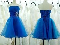2014 new arrival short blue fashion crystal design sweetheart blue short women prom dress No.9301 satin inside, outside organza