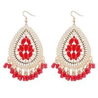 Free Shipping! fashion Europe and America temperament water drop shape bohemian retro tassels beads resin Stud Earrings  110412