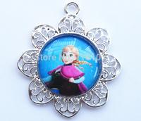 10pcs/lot Big sale children necklace pendants kids frozen charm cartoon character Anna princess pendant !!