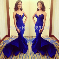 2014 New Pop Womens Sexy Blue Mermaid V-Neck Evening Party Long Dress