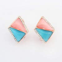 Free Shipping! Boutique Europe and America temperament rhombus individuality CZ Diamond crystal gem resin Stud Earrings 110406