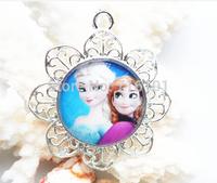 10pcs/lot Charming Elsa &Anna sister princess necklace pendant kid girls frozen cartoon character pendant handmade!!