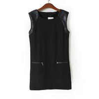 2014 autumn women brief street fashion twill black tunic PU shoulder o-neck zipper back sleeveless straight mini dress 201007