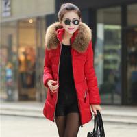 New 2014 Winter Jacket Women Coat Thicken Slim Female Raccoon Fur Collar Long Coat Women Parka Plus Size Jackets