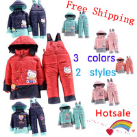2014 Free shipping Winter new children down coat set,lovely cartoon down jacket + down pants baby boys girls/kids suit clothes