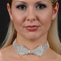 Top Quality Vintage Noble Shiny Colar Sexy Rhinestone Necktie Bow Tie Deluxe Choker Necklace Fashion Costume Jewelry