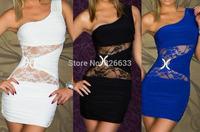 1pcs/lot Sexy Ladies One Shoulder Mini sexy Club wear dress sheath Evening Dress with thongs 3 colors