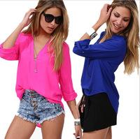 2014 New Fashion Deep V-neck Long Sleeve Chiffon Blouse Women Casual Blouses Blusas Femininas