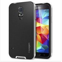 100pcs DHL free Neo Hybrid Bumblebee Case For Samsung Galaxy S5 i9600 SPIGEN SGP Hard Phone Cover Black Gold