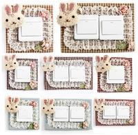 Super cute lace rabbit switch Creative sticker single and double 2 size socket sticker 2pcs/lot free shipping