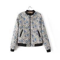 2014 autumn women simple casual floral warm cotton padded bomber jacekt stand mandarin collar wide-waist pockets outwear 408116