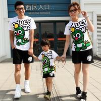 Character cute dinosaur short-sleeve t-shirt for family set cotton white t shirt for women men free shipping lovers