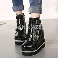 2014 new fashion round toe women autumn high heeled ankle martin boots black diamante size 39 free shipping