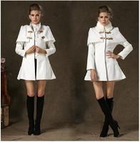 Women's Fashion Faux Fur Collar Cape Type Woolen Jacket, Unique Stand Collar Winter Wool Coat
