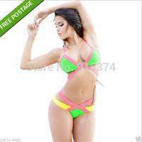 Ladies Multi-Coloured Padded Bikini Set Beach Swimming Costumes Free shipping