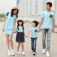 new the couple pig dress family fit one-piece dress for mother and daughter T shirt for father and son blue dot ball gown bow