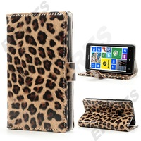 Phone Case For Nokia Lumia 625 , Sleek Trendy Leopard Wallet Leather Case with Stand For Nokia Lumia 625 1PCS Free Shipping