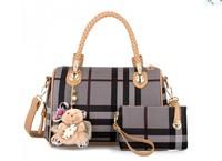 Fashion Leather Handbags Women Plaid Shoulder Bags Tote Handbag Trifunctional Sling Clutch Handbag Bear Charm Christmas Gift
