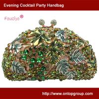 Kiss-loack gripe pattern ladies luxury clutch bag wedding party handbag